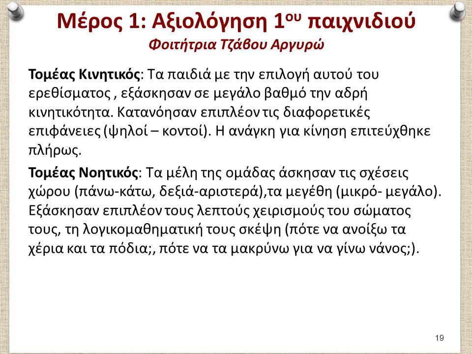 Μέρος 1: Αξιολόγηση 1 ου παιχνιδιού Φοιτήτρια Τζάβου Αργυρώ Τομέας Κινητικός: Τα παιδιά με την επιλογή αυτού του ερεθίσματος, εξάσκησαν σε μεγάλο βαθμ