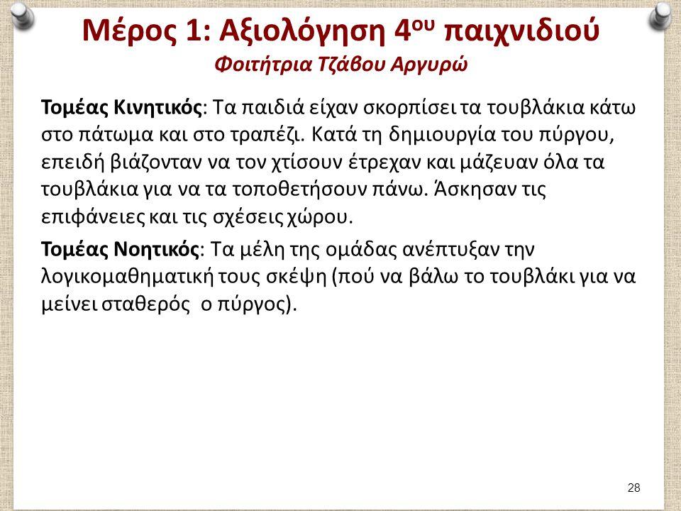Μέρος 1: Αξιολόγηση 4 ου παιχνιδιού Φοιτήτρια Τζάβου Αργυρώ Τομέας Κινητικός: Τα παιδιά είχαν σκορπίσει τα τουβλάκια κάτω στο πάτωμα και στο τραπέζι.