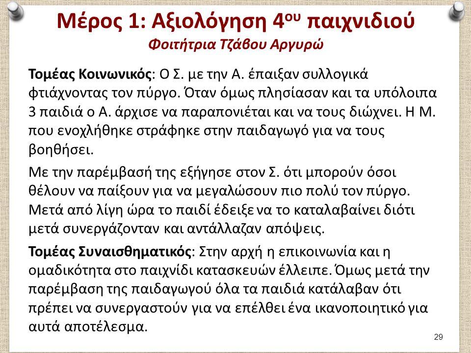 Μέρος 1: Αξιολόγηση 4 ου παιχνιδιού Φοιτήτρια Τζάβου Αργυρώ Τομέας Κοινωνικός: Ο Σ. με την Α. έπαιξαν συλλογικά φτιάχνοντας τον πύργο. Όταν όμως πλησί