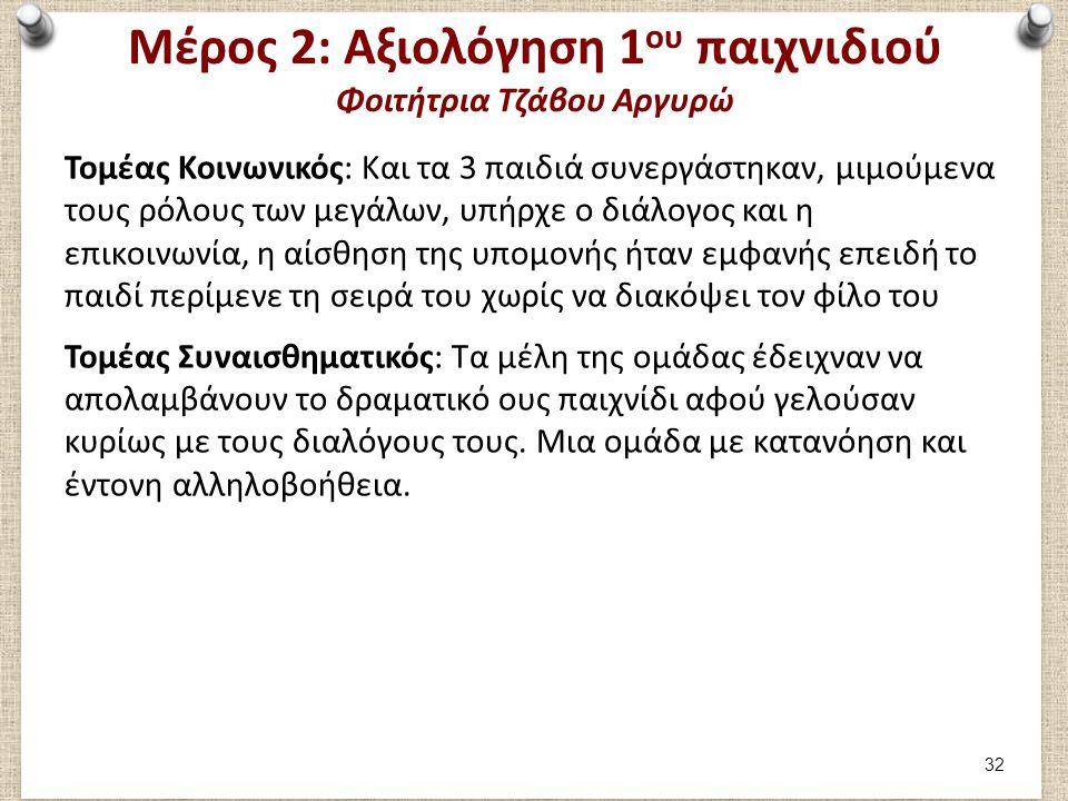 Μέρος 2: Αξιολόγηση 1 ου παιχνιδιού Φοιτήτρια Τζάβου Αργυρώ Τομέας Κοινωνικός: Και τα 3 παιδιά συνεργάστηκαν, μιμούμενα τους ρόλους των μεγάλων, υπήρχ