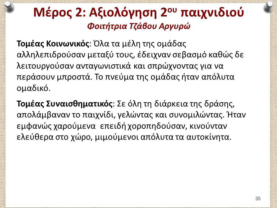 Μέρος 2: Αξιολόγηση 2 ου παιχνιδιού Φοιτήτρια Τζάβου Αργυρώ Τομέας Κοινωνικός: Όλα τα μέλη της ομάδας αλληλεπιδρούσαν μεταξύ τους, έδειχναν σεβασμό κα
