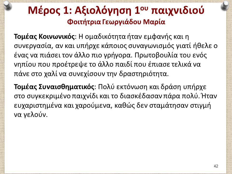 Μέρος 1: Αξιολόγηση 1 ου παιχνιδιού Φοιτήτρια Γεωργιάδου Μαρία Τομέας Κοινωνικός: Η ομαδικότητα ήταν εμφανής και η συνεργασία, αν και υπήρχε κάποιος σ