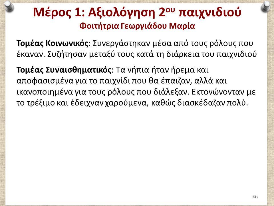 Μέρος 1: Αξιολόγηση 2 ου παιχνιδιού Φοιτήτρια Γεωργιάδου Μαρία Τομέας Κοινωνικός: Συνεργάστηκαν μέσα από τους ρόλους που έκαναν. Συζήτησαν μεταξύ τους