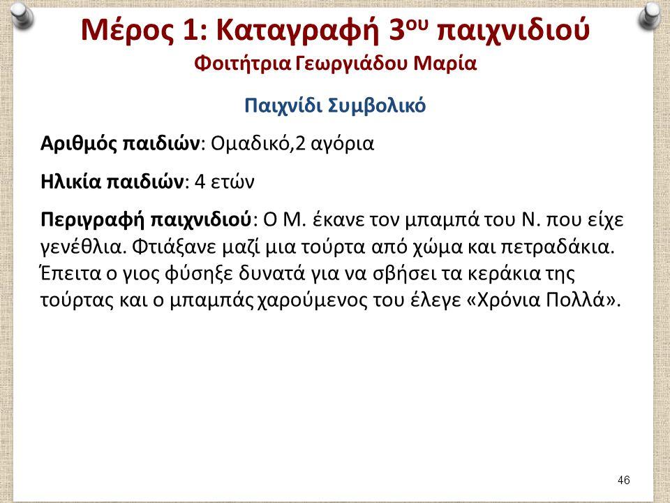 Μέρος 1: Καταγραφή 3 ου παιχνιδιού Φοιτήτρια Γεωργιάδου Μαρία Παιχνίδι Συμβολικό Αριθμός παιδιών: Ομαδικό,2 αγόρια Ηλικία παιδιών: 4 ετών Περιγραφή πα