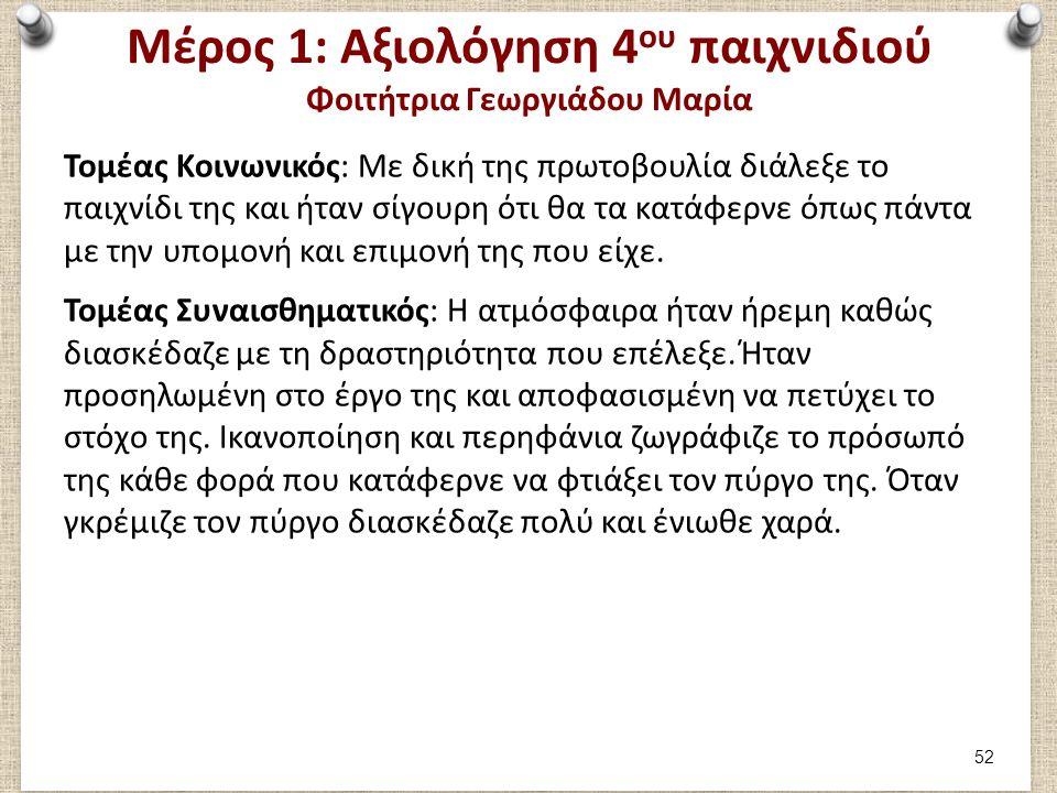 Μέρος 1: Αξιολόγηση 4 ου παιχνιδιού Φοιτήτρια Γεωργιάδου Μαρία Τομέας Κοινωνικός: Με δική της πρωτοβουλία διάλεξε το παιχνίδι της και ήταν σίγουρη ότι