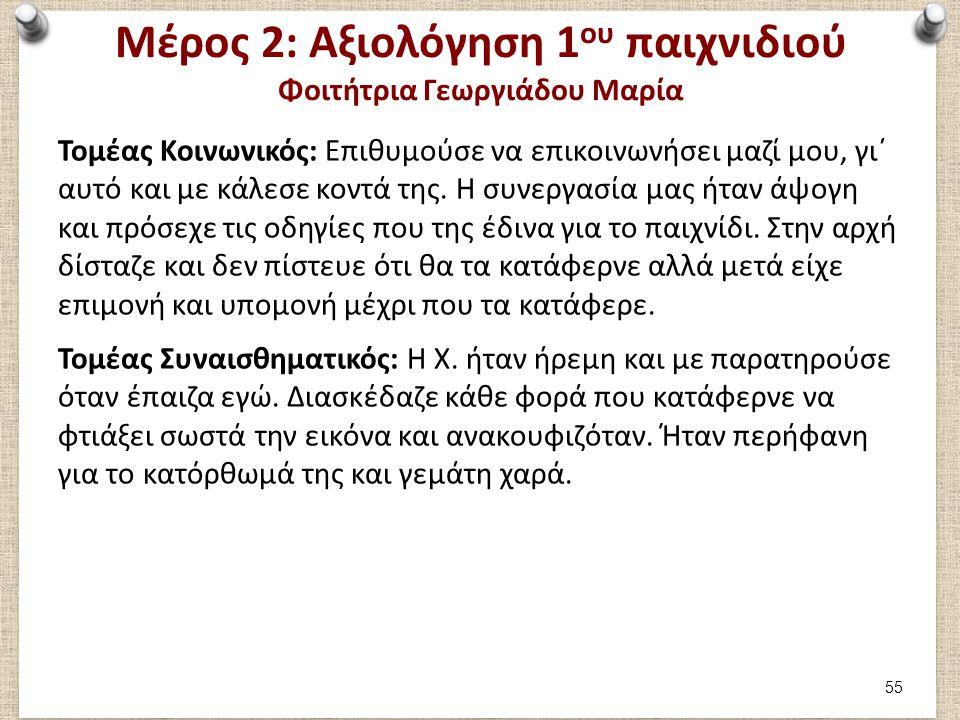 Μέρος 2: Αξιολόγηση 1 ου παιχνιδιού Φοιτήτρια Γεωργιάδου Μαρία Τομέας Κοινωνικός: Επιθυμούσε να επικοινωνήσει μαζί μου, γι΄ αυτό και με κάλεσε κοντά τ