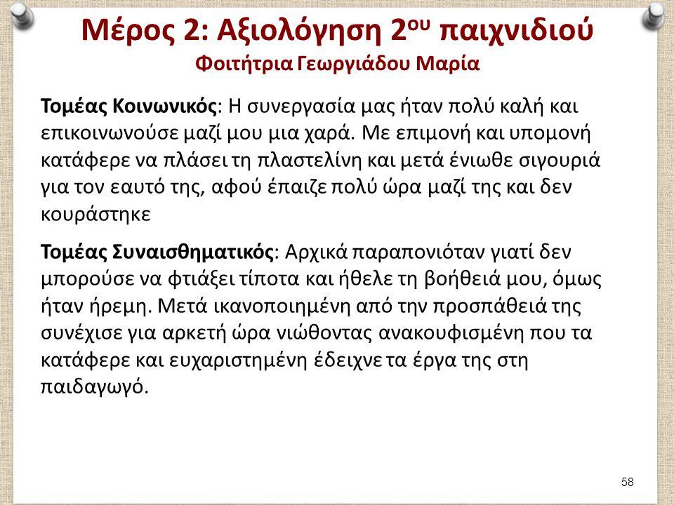 Μέρος 2: Αξιολόγηση 2 ου παιχνιδιού Φοιτήτρια Γεωργιάδου Μαρία Τομέας Κοινωνικός: Η συνεργασία μας ήταν πολύ καλή και επικοινωνούσε μαζί μου μια χαρά.