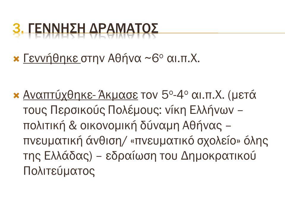  Γεννήθηκε στην Αθήνα ~6 ο αι.π.Χ.  Αναπτύχθηκε- Άκμασε τον 5 ο -4 ο αι.π.Χ. (μετά τους Περσικούς Πολέμους: νίκη Ελλήνων – πολιτική & οικονομική δύν