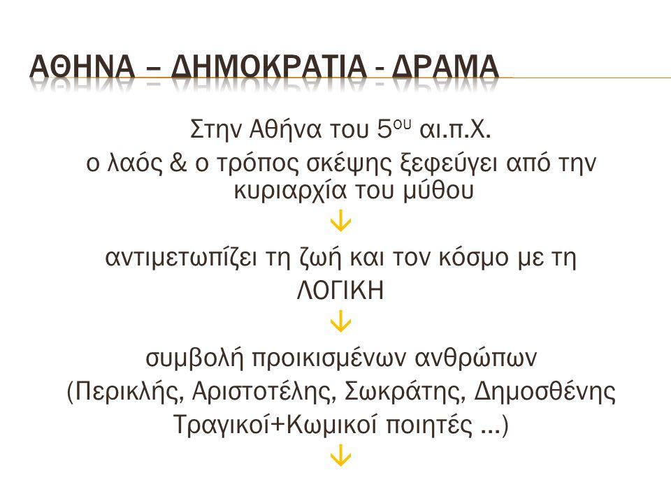 Στην Αθήνα του 5 ου αι.π.Χ. ο λαός & ο τρόπος σκέψης ξεφεύγει από την κυριαρχία του μύθου  αντιμετωπίζει τη ζωή και τον κόσμο με τη ΛΟΓΙΚΗ  συμβολή