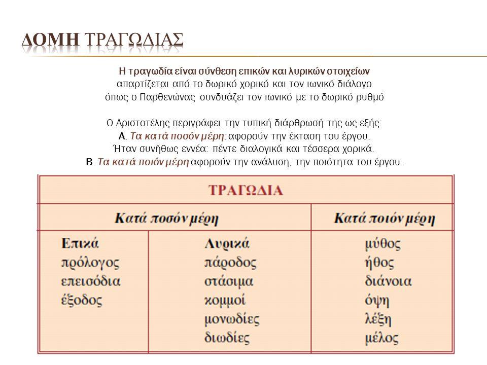 H τραγωδία είναι σύνθεση επικών και λυρικών στοιχείων απαρτίζεται από το δωρικό χορικό και τον ιωνικό διάλογο όπως ο Παρθενώνας συνδυάζει τον ιωνικό μ
