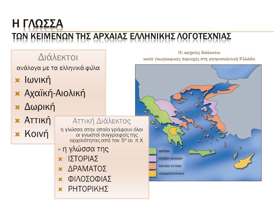 Διάλεκτοι ανάλογα με τα ελληνικά φύλα  Ιωνική  Αχαϊκή-Αιολική  Δωρική  Αττική  Κοινή Αττική Διάλεκτος η γλώσσα στην οποία γράφουν όλοι οι γνωστοί συγγραφείς της αρχαιότητας από τον 5 ο αι.