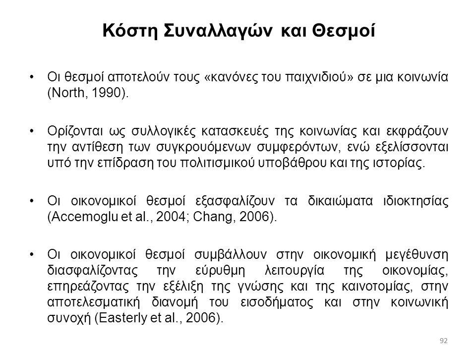 92 Κόστη Συναλλαγών και Θεσμοί Οι θεσμοί αποτελούν τους «κανόνες του παιχνιδιού» σε μια κοινωνία (North, 1990). Ορίζονται ως συλλογικές κατασκευές της