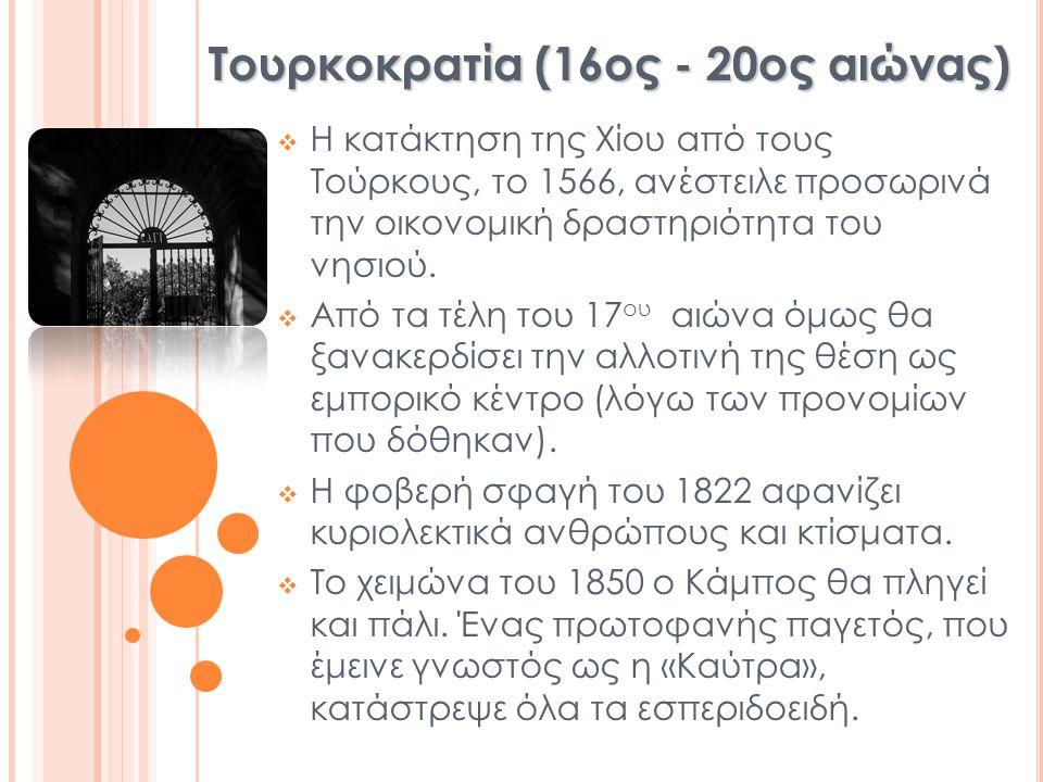  Η κατάκτηση της Χίου από τους Τούρκους, το 1566, ανέστειλε προσωρινά την οικονομική δραστηριότητα του νησιού.  Από τα τέλη του 17 ου αιώνα όμως θα