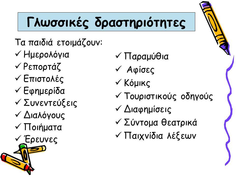 Γλωσσικές δραστηριότητες Τα παιδιά ετοιμάζουν: Ημερολόγια Ρεπορτάζ Επιστολές Εφημερίδα Συνεντεύξεις Διαλόγους Ποιήματα Έρευνες Παραμύθια Αφίσες Κόμικς