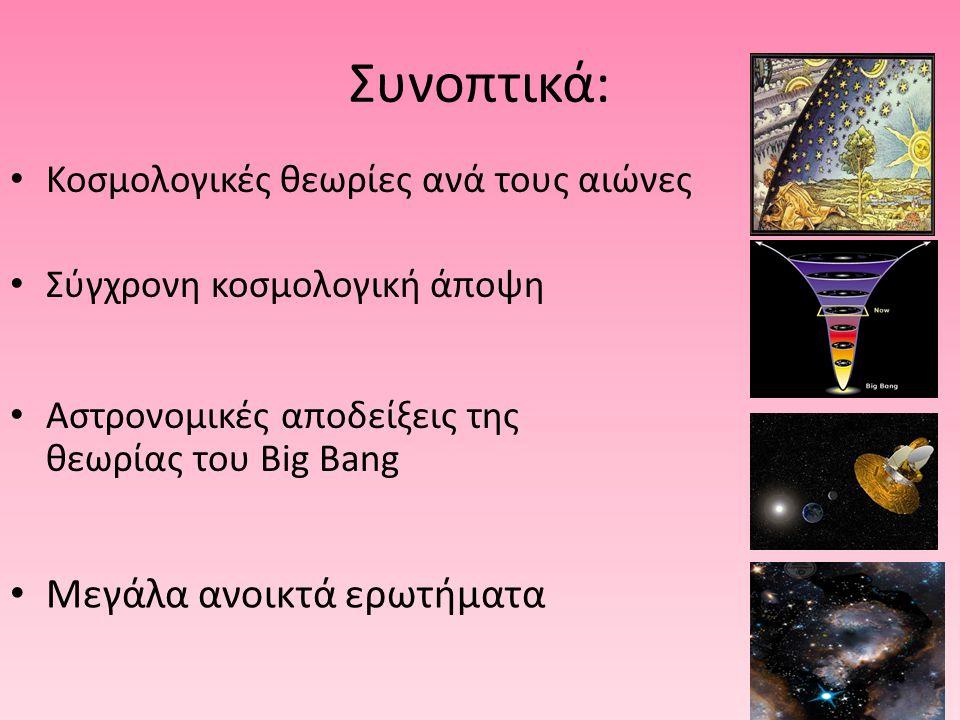 ΤΑ ΜΕΓΑΛΑ ΑΝΟΙΚΤΑ ΕΡΩΤΗΜΑΤΑ Τι είδους σωματίδια αποτελούν τη σκοτεινή ύλη; Ποια είναι αυτή η σκοτεινή ενέργεια που επιταχύνει το σύμπαν; Τι κατάληξη θα έχει το σύμπαν και πως ξεκίνησε; Είναι το Σύμπαν ανοικτό ή κλειστό; …έως τώρα κανείς δε ξέρει...