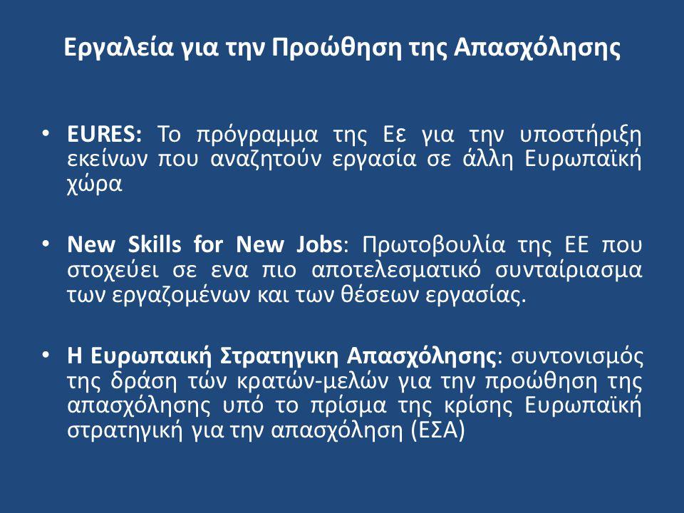 Εργαλεία για την Προώθηση της Απασχόλησης EURES: Το πρόγραμμα της Ε ε για την υποστήριξη εκείνων που αναζητούν εργασία σε άλλη Ευρωπαϊκή χώρα New Skil