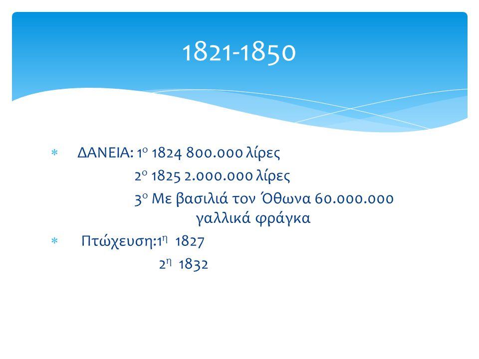  ΔΑΝΕΙΑ: 1 ο 1824 800.000 λίρες 2 ο 1825 2.000.000 λίρες 3 ο Με βασιλιά τον Όθωνα 60.000.000 γαλλικά φράγκα  Πτώχευση:1 η 1827 2 η 1832 1821-1850