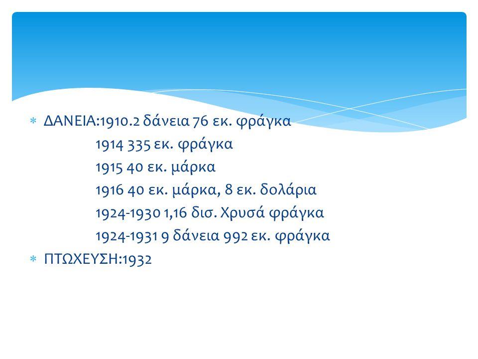  ΔΑΝΕΙΑ:1910.2 δάνεια 76 εκ.φράγκα 1914 335 εκ. φράγκα 1915 40 εκ.