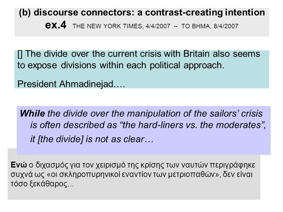 (b) discourse connectors: a contrast-creating intention ex.4 THE NEW YORK TIMES, 4/4/2007 -- ΤΟ ΒΗΜΑ, 8/4/2007 [] The divide over the current crisis with Britain also seems to expose divisions within each political approach.