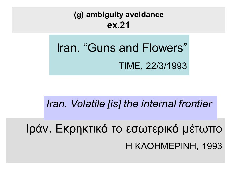 (g) ambiguity avoidance ex.21 Iran. Guns and Flowers TIME, 22/3/1993 Ιράν.