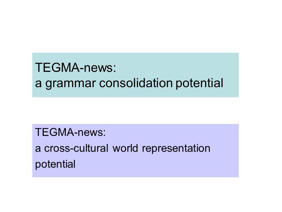 TEGMA-news: a grammar consolidation potential TEGMA-news: a cross-cultural world representation potential