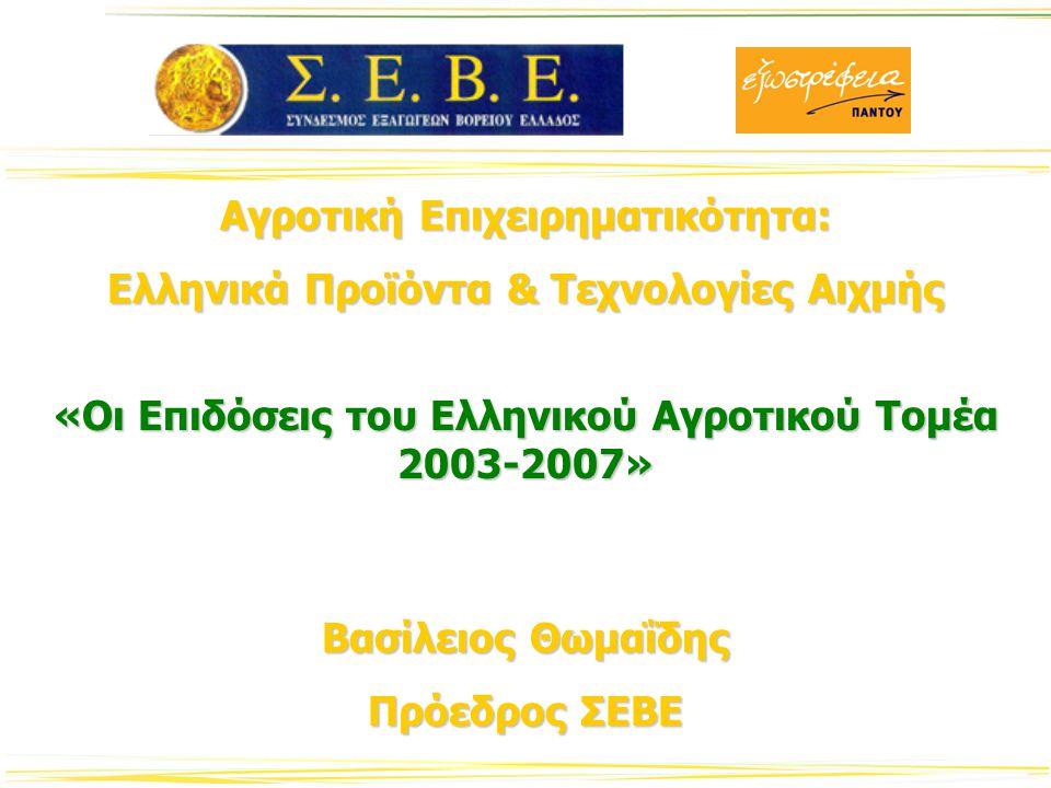Οι Εξαγωγικές Επιδόσεις του Αγροτικού Τομέα Κλάδος Αιχμής για την ελληνική οικονομίαΚλάδος Αιχμής για την ελληνική οικονομία 2007: 18.7% των συνολικών Ελληνικών εξαγωγών2007: 18.7% των συνολικών Ελληνικών εξαγωγών 2003-07 : Αύξηση των Αγροτικών Εξαγωγών με Μ.Ε.Τ 6%2003-07 : Αύξηση των Αγροτικών Εξαγωγών με Μ.Ε.Τ 6% 2004-05 : Σημαντική Αύξηση των Αγροτικών εξαγωγών 25.9%2004-05 : Σημαντική Αύξηση των Αγροτικών εξαγωγών 25.9% 2005-07: Στασιμότητα των Αγροτικών εξαγωγών2005-07: Στασιμότητα των Αγροτικών εξαγωγών