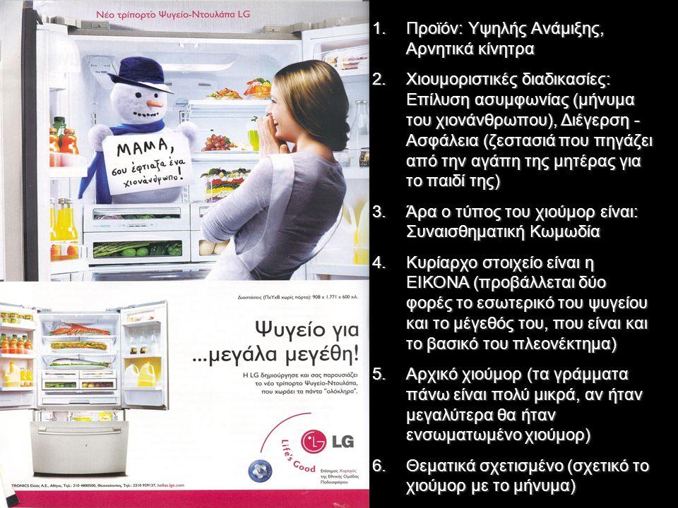 1.Προϊόν: Υψηλής Ανάμιξης, Αρνητικά κίνητρα 2.Χιουμοριστικές διαδικασίες: Επίλυση ασυμφωνίας (μήνυμα του χιονάνθρωπου), Διέγερση - Ασφάλεια (ζεστασιά