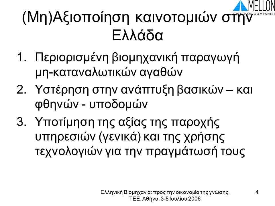 Ελληνική Βιομηχανία: προς την οικονομία της γνώσης, ΤΕΕ, Αθήνα, 3-5 Ιουλίου 2006 5 Εξέλιξη Μοντέλων στην Ελλάδα Δεκαετία 60-70 αγορές μεγάλων συστημάτων Η/Υ και δημιουργία τμημάτων μηχανογράφησης Δεκαετία 1980 -1990 αγορές μεσαίων και μικρών Η/Υ άνθηση αγοράς τυποποιημένου λογισμικού βασικών εφαρμογών Δεκαετία 2000 σταδιακή αύξηση του Internet – Πάροχοι Υπηρεσιών Εφαρμογών