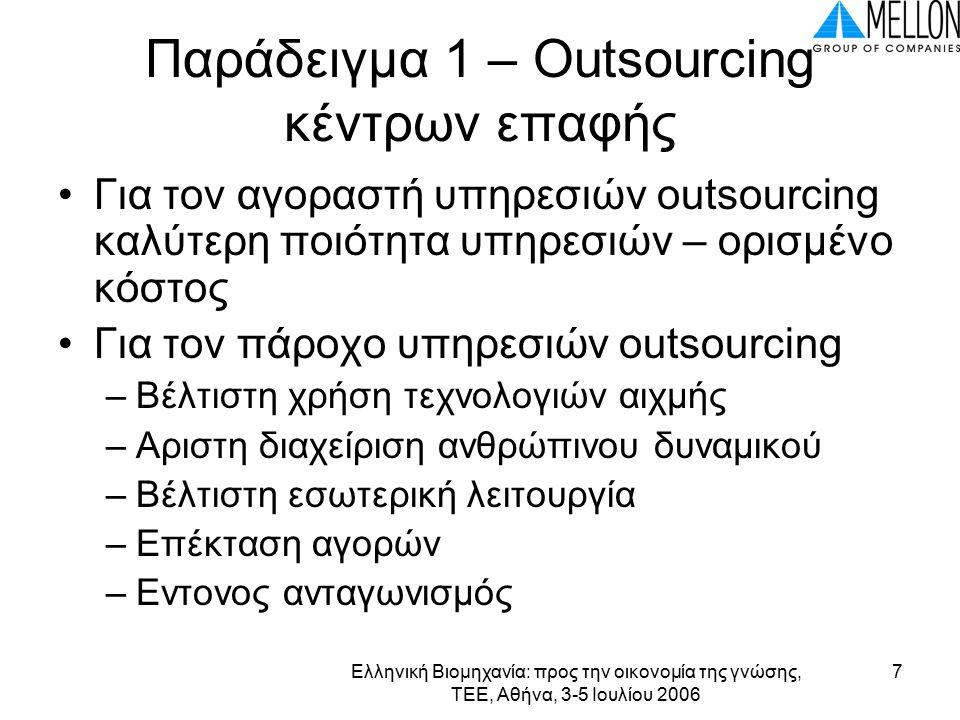 Ελληνική Βιομηχανία: προς την οικονομία της γνώσης, ΤΕΕ, Αθήνα, 3-5 Ιουλίου 2006 7 Παράδειγμα 1 – Outsourcing κέντρων επαφής Για τον αγοραστή υπηρεσιών outsourcing καλύτερη ποιότητα υπηρεσιών – ορισμένο κόστος Για τον πάροχο υπηρεσιών outsourcing –Βέλτιστη χρήση τεχνολογιών αιχμής –Αριστη διαχείριση ανθρώπινου δυναμικού –Βέλτιστη εσωτερική λειτουργία –Επέκταση αγορών –Εντονος ανταγωνισμός