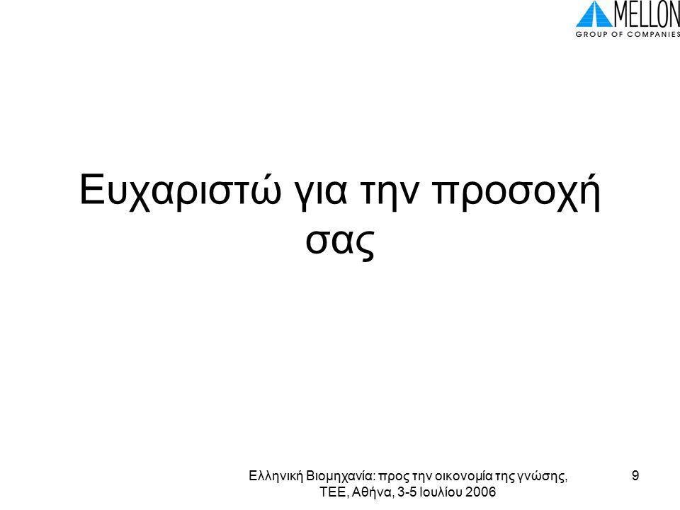Ελληνική Βιομηχανία: προς την οικονομία της γνώσης, ΤΕΕ, Αθήνα, 3-5 Ιουλίου 2006 9 Ευχαριστώ για την προσοχή σας