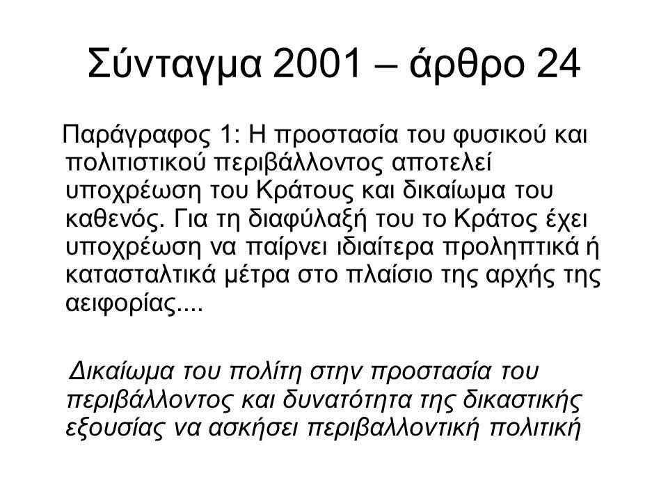 Σύνταγμα 2001 – άρθρο 24 Παράγραφος 1: Η προστασία του φυσικού και πολιτιστικού περιβάλλοντος αποτελεί υποχρέωση του Κράτους και δικαίωμα του καθενός.