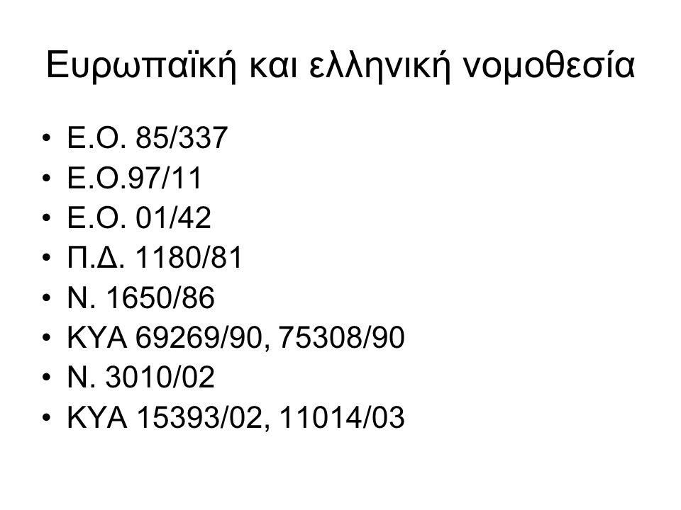 Ευρωπαϊκή και ελληνική νομοθεσία Ε.Ο. 85/337 Ε.Ο.97/11 Ε.Ο. 01/42 Π.Δ. 1180/81 Ν. 1650/86 ΚΥΑ 69269/90, 75308/90 Ν. 3010/02 ΚΥΑ 15393/02, 11014/03