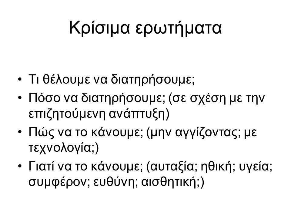 Κατάσταση περιβάλλοντος Ελλάδας Αέρια ρύπανση πόλεων (χημική-ηχητική- θερμική) Απορρίμματα - τοξικότητα Διάβρωση-ερημοποίηση Ρύπανση υπόγειων νερών Υπερεκμετάλλευση νερών Υποβάθμιση οικοσυστημάτων Υποβάθμιση φυσικού και πολιτιστικού τοπίου