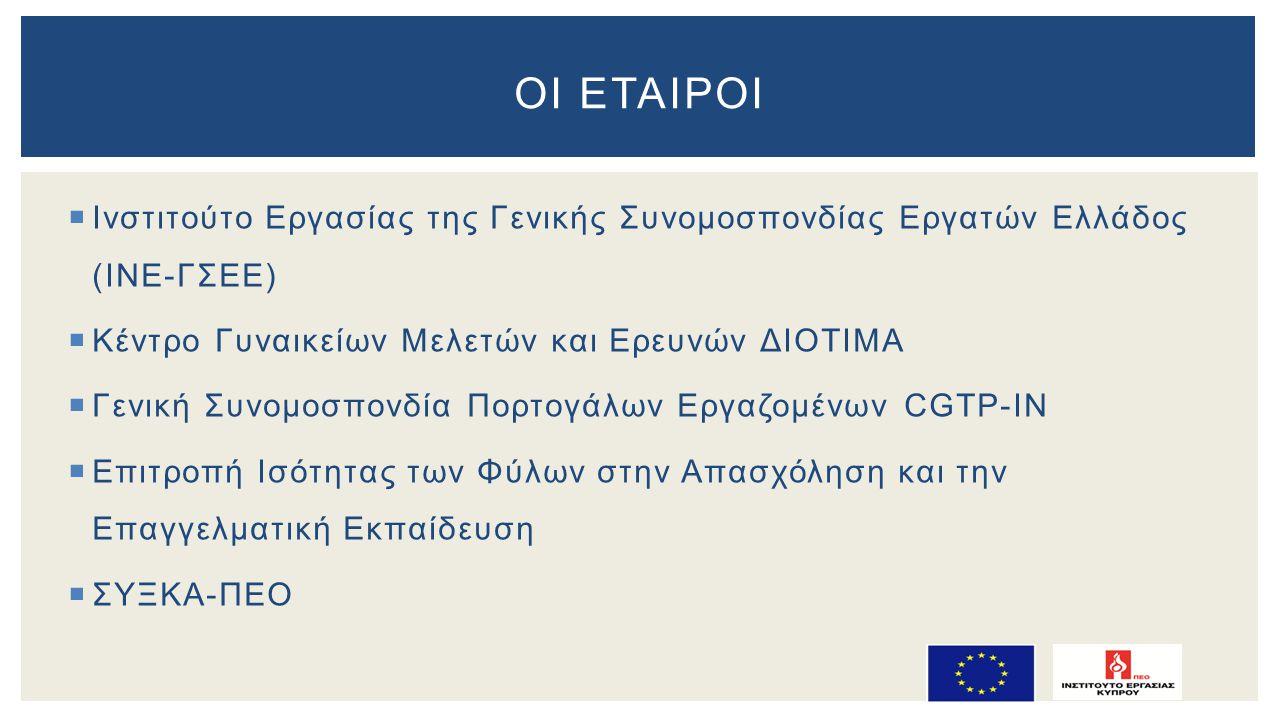  Ινστιτούτο Εργασίας της Γενικής Συνομοσπονδίας Εργατών Ελλάδος (ΙΝΕ-ΓΣΕΕ)  Κέντρο Γυναικείων Μελετών και Ερευνών ΔΙΟΤΙΜΑ  Γενική Συνομοσπονδία Πορτογάλων Εργαζομένων CGTP-ΙΝ  Επιτροπή Ισότητας των Φύλων στην Απασχόληση και την Επαγγελματική Εκπαίδευση  ΣΥΞΚΑ-ΠΕΟ ΟΙ ΕΤΑΙΡΟΙ