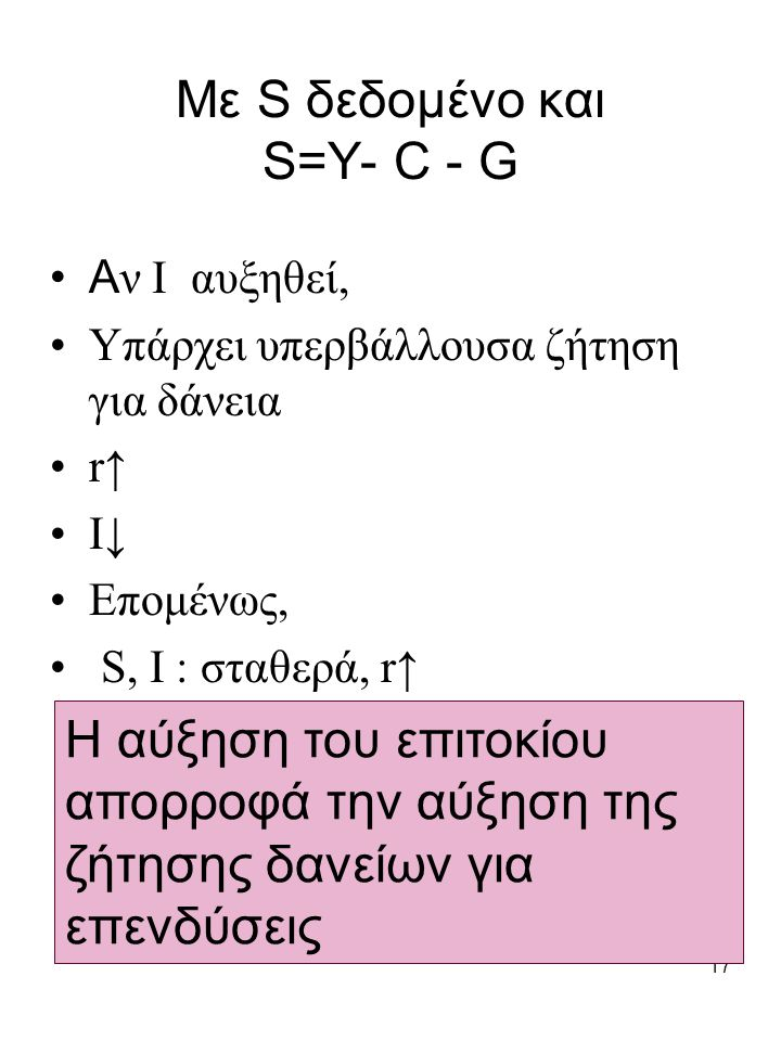 17 Με S δεδομένο και S=Y- C - G A ν Ι αυξηθεί, Υπάρχει υπερβάλλουσα ζήτηση για δάνεια r↑ I↓ Επομένως, S, I : σταθερά, r↑ Η αύξηση του επιτοκίου απορρο