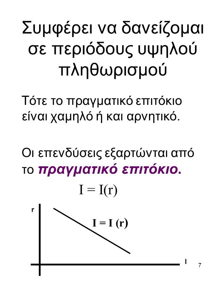 7 Συμφέρει να δανείζομαι σε περιόδους υψηλού πληθωρισμού Τότε το πραγματικό επιτόκιο είναι χαμηλό ή και αρνητικό. Οι επενδύσεις εξαρτώνται από το πραγ
