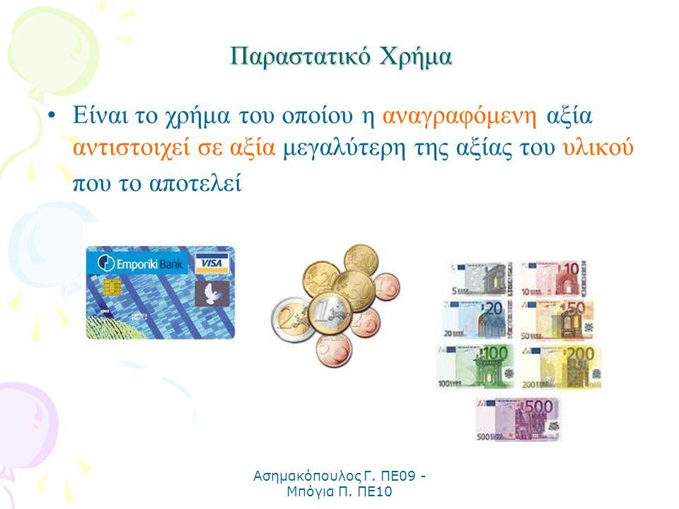Ασημακόπουλος Γ. ΠΕ09 - Μπόγια Π. ΠΕ10 Παραστατικό Χρήμα Είναι το χρήμα του οποίου η αναγραφόμενη αξία αντιστοιχεί σε αξία μεγαλύτερη της αξίας του υλ