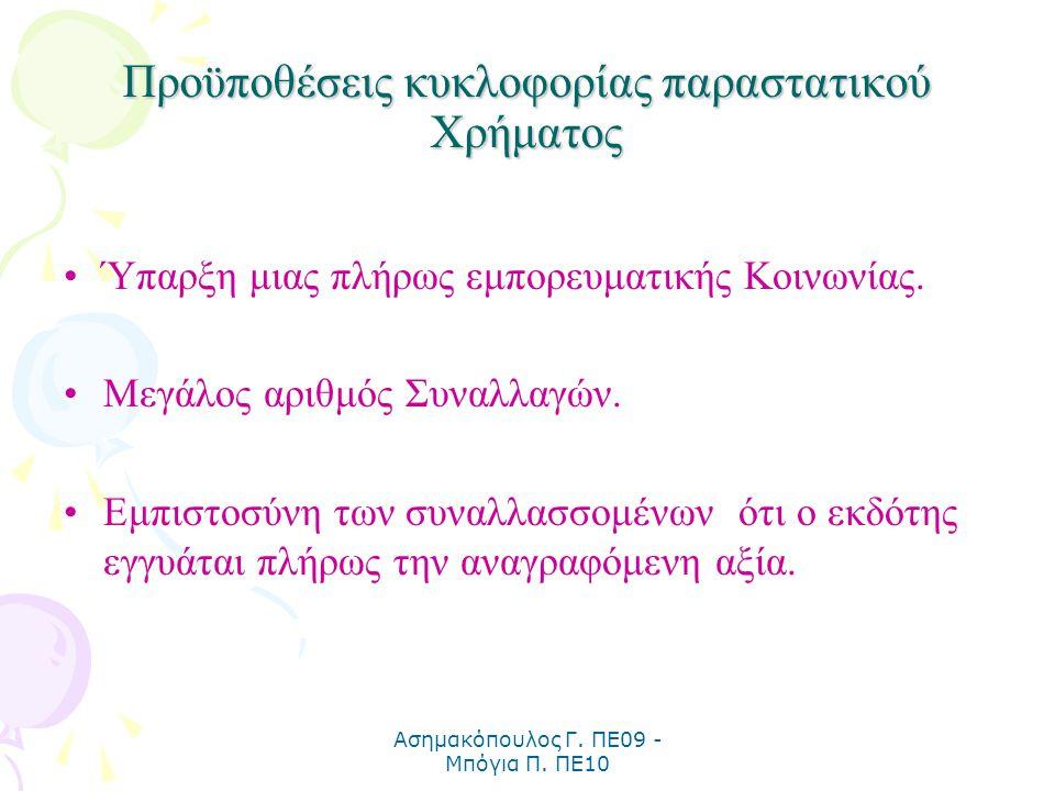 Ασημακόπουλος Γ. ΠΕ09 - Μπόγια Π. ΠΕ10 Προϋποθέσεις κυκλοφορίας παραστατικού Χρήματος Ύπαρξη μιας πλήρως εμπορευματικής Κοινωνίας. Μεγάλος αριθμός Συν