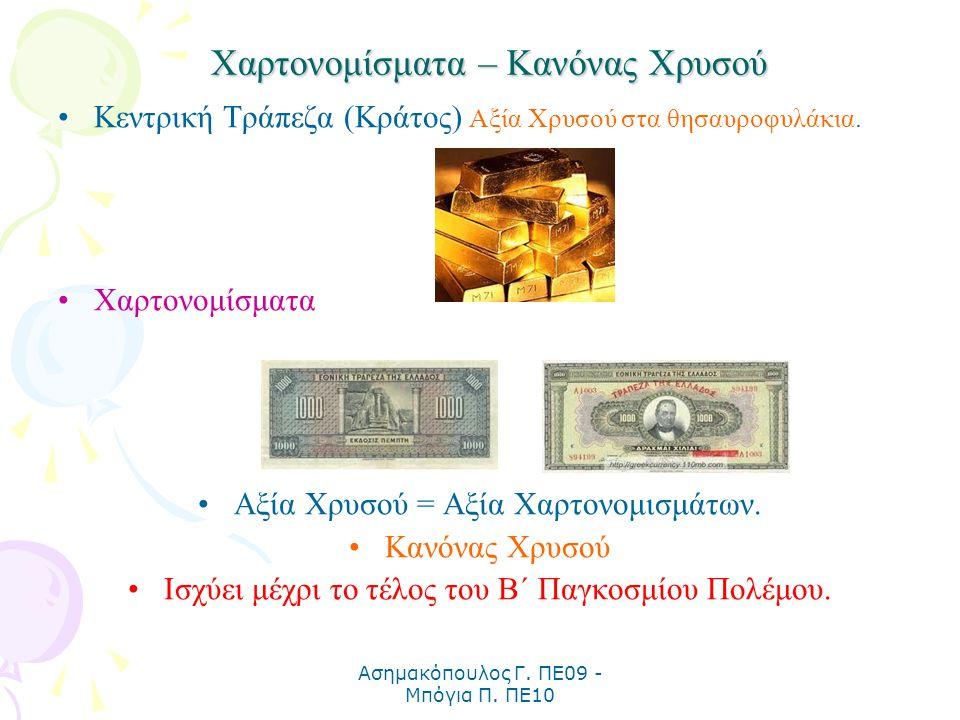 Ασημακόπουλος Γ. ΠΕ09 - Μπόγια Π. ΠΕ10 Χαρτονομίσματα – Κανόνας Χρυσού Κεντρική Τράπεζα (Κράτος) Αξία Χρυσού στα θησαυροφυλάκια. Χαρτονομίσματα Αξία Χ