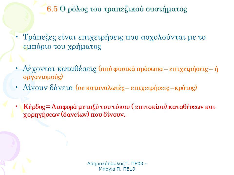 Ασημακόπουλος Γ. ΠΕ09 - Μπόγια Π. ΠΕ10 6.5 Ο ρόλος του τραπεζικού συστήματος Τράπεζες είναι επιχειρήσεις που ασχολούνται με το εμπόριο του χρήματος Δέ