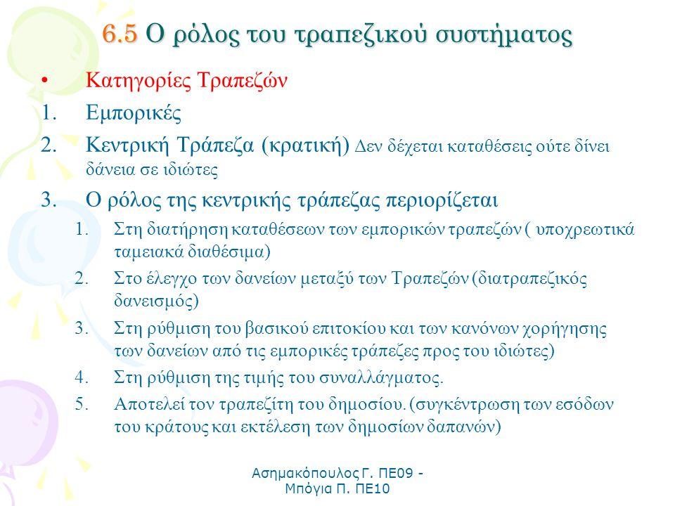 Ασημακόπουλος Γ. ΠΕ09 - Μπόγια Π. ΠΕ10 6.5 Ο ρόλος του τραπεζικού συστήματος Κατηγορίες Τραπεζών 1.Εμπορικές 2.Κεντρική Τράπεζα (κρατική) Δεν δέχεται