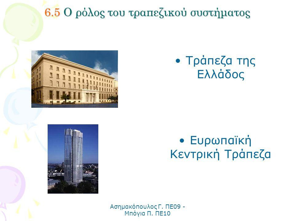 Ασημακόπουλος Γ. ΠΕ09 - Μπόγια Π. ΠΕ10 6.5 Ο ρόλος του τραπεζικού συστήματος Τράπεζα της Ελλάδος Ευρωπαϊκή Κεντρική Τράπεζα