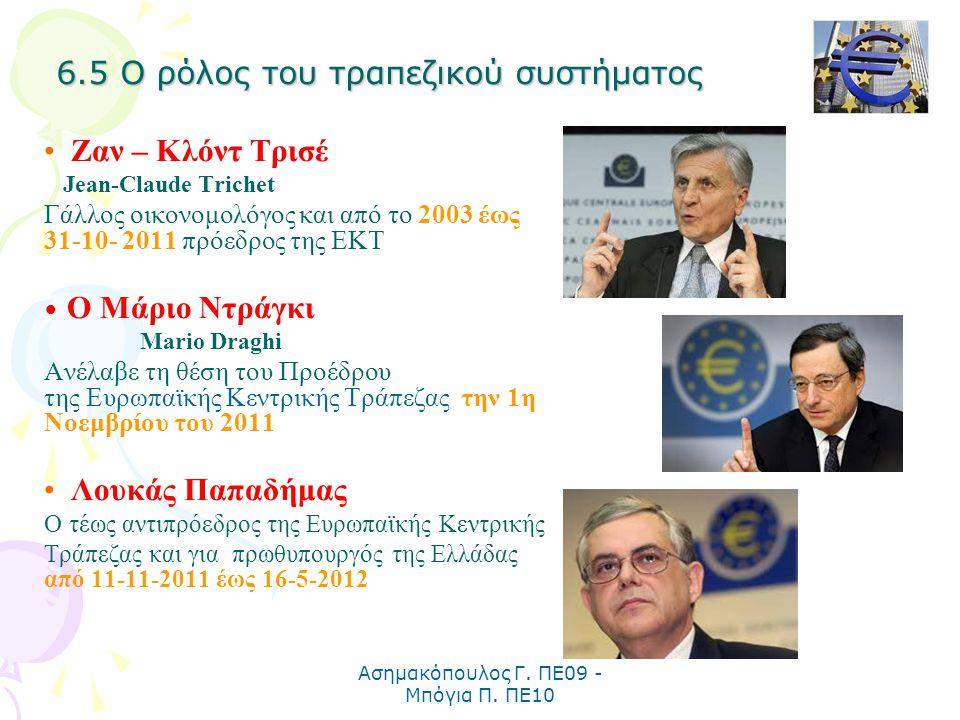 Ασημακόπουλος Γ. ΠΕ09 - Μπόγια Π. ΠΕ10 Ζαν – Κλόντ Τρισέ Jean-Claude Trichet Γάλλος οικονομολόγος και από το 2003 έως 31-10- 2011 πρόεδρος της ΕΚΤ Ο Μ