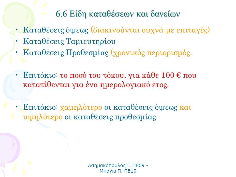 Ασημακόπουλος Γ. ΠΕ09 - Μπόγια Π. ΠΕ10 6.6 Είδη καταθέσεων και δανείων Καταθέσεις όψεως (διακινούνται συχνά με επιταγές) Καταθέσεις Ταμιευτηρίου Καταθ