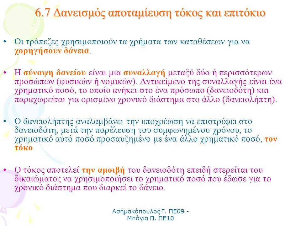 Ασημακόπουλος Γ. ΠΕ09 - Μπόγια Π. ΠΕ10 6.7 Δανεισμός αποταμίευση τόκος και επιτόκιο Οι τράπεζες χρησιμοποιούν τα χρήματα των καταθέσεων για να χορηγήσ