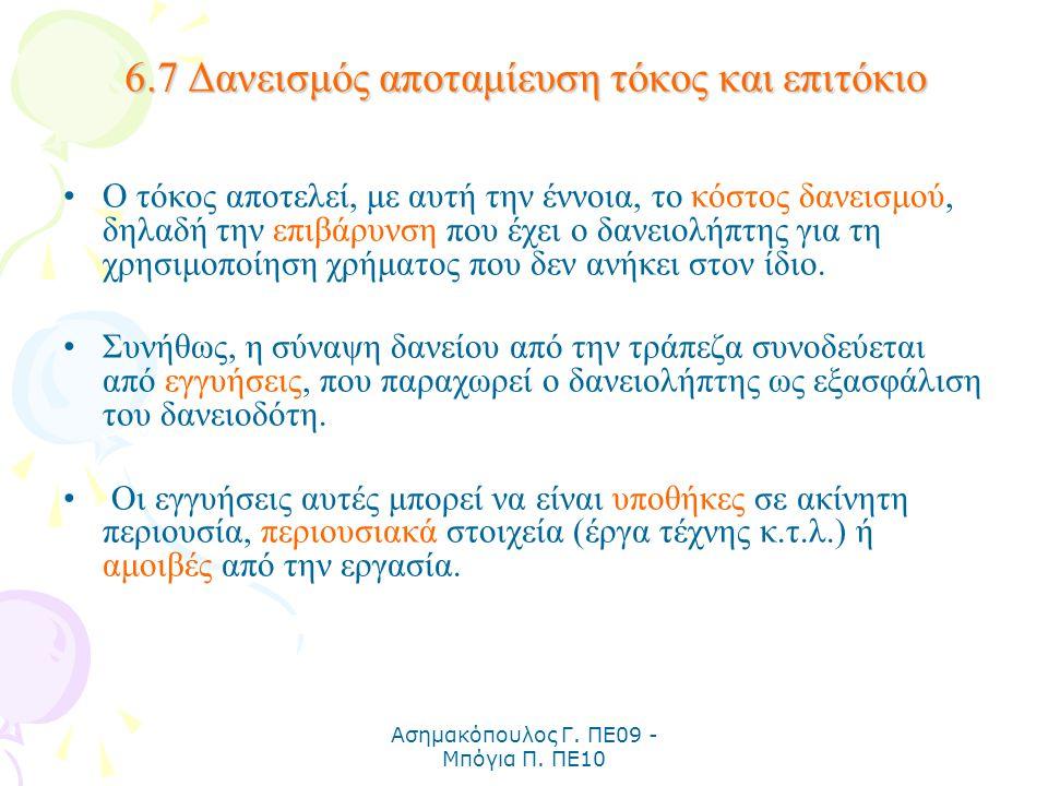 Ασημακόπουλος Γ. ΠΕ09 - Μπόγια Π. ΠΕ10 6.7 Δανεισμός αποταμίευση τόκος και επιτόκιο Ο τόκος αποτελεί, με αυτή την έννοια, το κόστος δανεισμού, δηλαδή