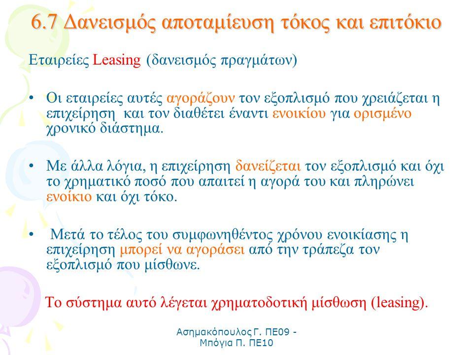 Ασημακόπουλος Γ. ΠΕ09 - Μπόγια Π. ΠΕ10 6.7 Δανεισμός αποταμίευση τόκος και επιτόκιο Εταιρείες Leasing (δανεισμός πραγμάτων) Οι εταιρείες αυτές αγοράζο