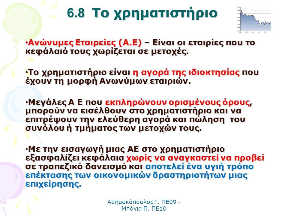 Ασημακόπουλος Γ. ΠΕ09 - Μπόγια Π. ΠΕ10 6.8 Το χρηματιστήριο Ανώνυμες Εταιρείες (Α.Ε) – Είναι οι εταιρίες που το κεφάλαιό τους χωρίζεται σε μετοχές. Αν
