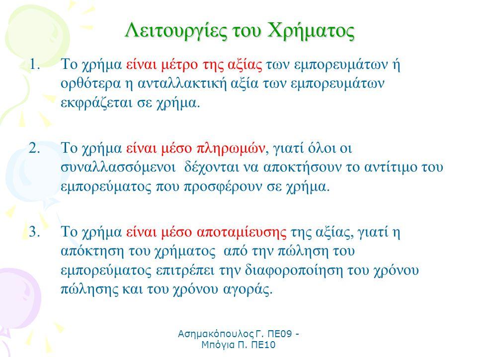 Ασημακόπουλος Γ. ΠΕ09 - Μπόγια Π. ΠΕ10 Λειτουργίες του Χρήματος 1.Το χρήμα είναι μέτρο της αξίας των εμπορευμάτων ή ορθότερα η ανταλλακτική αξία των ε