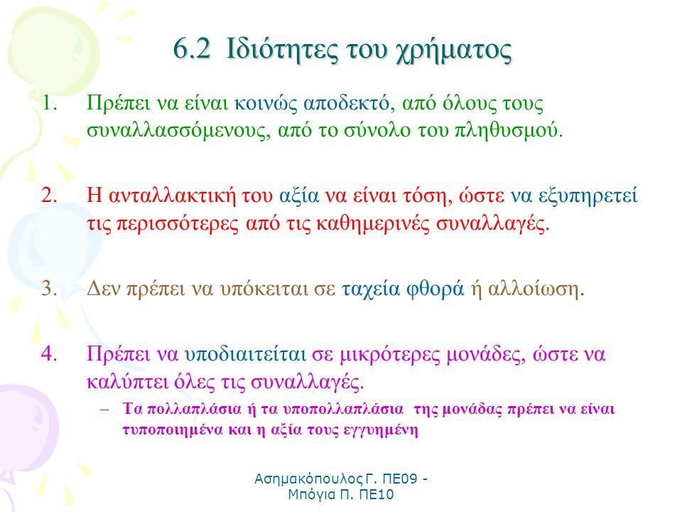 Ασημακόπουλος Γ. ΠΕ09 - Μπόγια Π. ΠΕ10 6.2 Ιδιότητες του χρήματος 1.Πρέπει να είναι κοινώς αποδεκτό, από όλους τους συναλλασσόμενους, από το σύνολο το